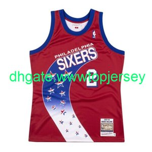 Cheap Moses Malone # 2 Mitchell Ness maglie da basket Red 1993-1994 a Jersey Throwbacks Vest cucita