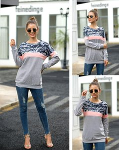 O-Neck Long Sleeve Ladies Clothing Womens Camouflage Patchwork Pullover Sweatshirts Spring Autumn Leopard Casual Women Tops