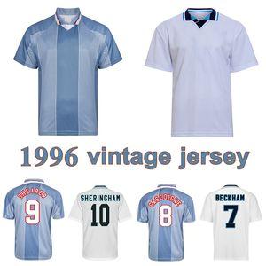 1996 Gascoiigne Shearer Retro Soccer Jersey McManaman Southgate Classic Vintage Sheringham 96 98 Chemise de football Beckham Beckham