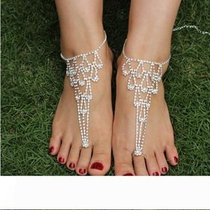 2pcs lot wedding jewelry anklets rhinestone barefoot sandals crystal Silver ankle bracelets charms bracelets S0675