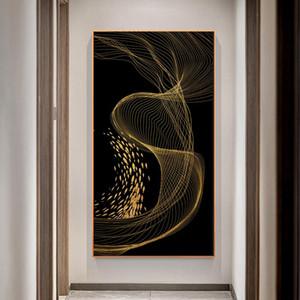 Línea arte abstracta moderna del arte minimalista Negro lienzo pintura del arte de fotografías para la sala de estar Decoración para el Hogar (No Frame)