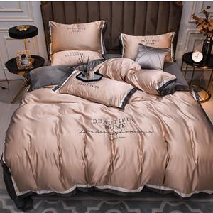 Luxus-4PCS Bettwäsche Kissen- Bettbezug flaches Blatt Spannbettuch glatte Seide Beautiful Home Bedspread König Königin