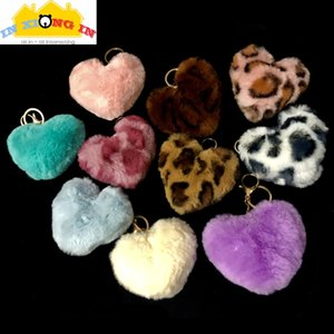 Leopard Print Heart Shapes Pompom Key Chain for DIY Craft Hanger Resin Jewelry Decor Soft Plush Pom Poms Accessories Heart
