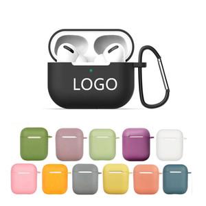 LOGO العرف رقيقة جدا لينة الغلاف TPU سيليكون لشركة آبل Airpods حالة لAirpods الموالية حالات لاسلكية سماعات الأذن حقائب وسلاسل مفاتيح
