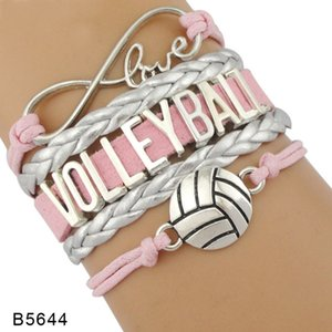 9styles Volleyball Bracelet Leather Suede Letter Bracelets Love Heart Volleyball Jewelry For Women Men Day Gift Fashion Accessories GGA3594