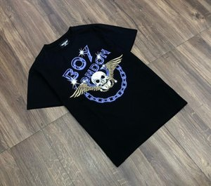 Spring Summer 2020 fashion brand BOY new short-sleeved T-shirt high-quality cotton loose printed small skull wings