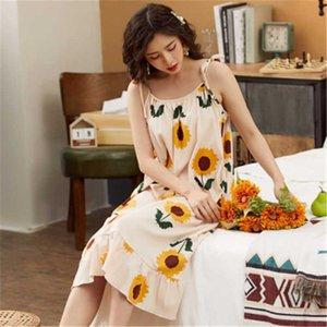Caiyier 2020 Pamuk Gecelik Sevimli Ayçiçeği pijamalar Yaz Seksi Sling Plaj Elbise Bayanlar İç İÇİN GECE Sundress