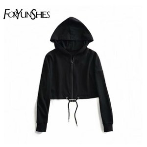Women's Black Hooded Jacket Long-sleeved Zipper Bomber Sporty Women Casual Pullover Coat Autumn Loose Winter Streetwear