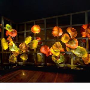 Luxury Yellow Orange Luxury Blown Glass Wall Plates Custom Made Hotel Wall Decor Glass Art Plates Flower Shape Wall Decoration Art Lamps