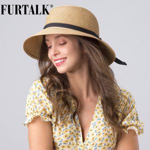 FURTALK Summer Hat for Women Straw Sun Hat Womens Beach Hats Wide Brim UPF UV Packable Cap for Travel chapeu feminino CX200714