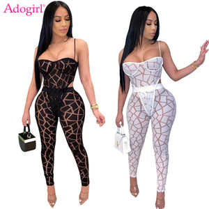 Adogirl Moda Imprimir Sheer pieza de malla atractiva de dos Conjunto de correas espaguetis Top Body lápiz juegos de pantalones de las mujeres del club de noche del mono T200721