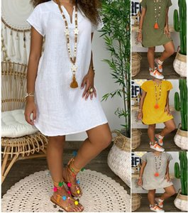 2020 Newest Casual Dress Ladies dress Summer loose solid color short sleeve V-neck linen dress women