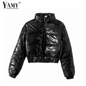 Parka women cropped puffer jacket shiny jackets Winter bubble jacket women reflective warm korean jackets coats female