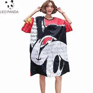 Oversized Plus Size Women Fashion Hole Print 2020 Summer Dress Ladies Casual Loose Dresses Female Vestidos Feminionos 4XL