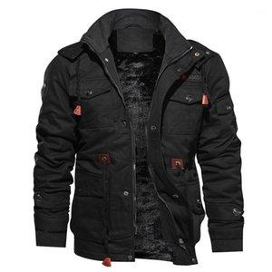 Boyun Sıcak Erkekler Kabanlar Kış Cep Düğme Erkek ceketler Katı Renk Kalınlaşmak Mens Coats tutun Standı