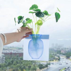실리콘 스티커 꽃병 쉽게 이동할 수있는 벽과 냉장고 매직 꽃 식물 꽃병 DIY 홈 장식 액세서리