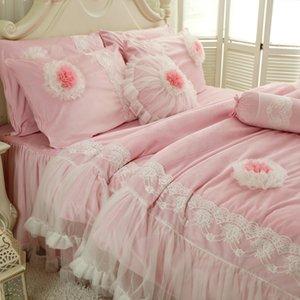 Princesa da borboleta Flower Bed Define multi camadas Ruffles com rendas Meninas cama Set Romantic Bed Cover Set para meninas capa de edredão