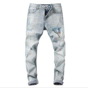 2020 Vlong Nuevo Streetwear Hip hop agujero de estiramiento pantalones rectos insignia de metal explosivo bordó lavar los pantalones vaqueros viejos de la vendimia pantalones largos