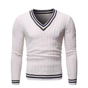 Los hombres de moda casual hombres suéter caliente V-cuello jersey hombre otoño camiseta Slim Fit de manga larga de lana masculino suéteres de punto