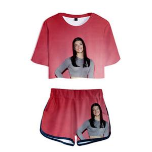 Merch Charli D'Amelio 3D-Drucken 2 Stück Outfits für Frauen Crop Top Trainingsanzug Zweiteiler Top und Shorts Set Damen Trainingsanzüge