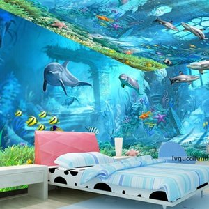Underwater World Mural 3d Wallpaper Television Kid Children Room Bedroom Ocean Cartoon Background Wall Sticker Nonwoven Fabric 22dya KK