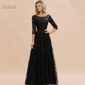 Babyonlinedress Black Lace A-line Mother Of The Bride Dresses Modest O-neck 3 4 Sleeves Wedding Party Dresses Vestido De Madrinha CPS1341