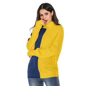 Le donne Turtle Neck Sweater sciolti con pannelli di contrasto di colore a manica lunga maglione Ladies Autunno Inverno Abbigliamento