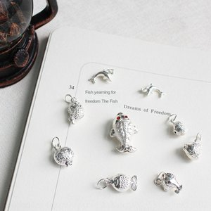 Annual have fish Lucky Bell S925 sterling silver handmade DIY baby red string shou Diy pendant jiao lian fish pendant