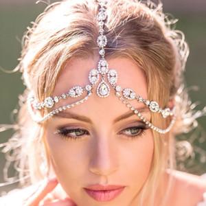 StoneFans Boho Head Chain Fairy Tiara With Stone Head Jewellery for Women Bridal Wedding Crystal Forehead Headpiece Chain Party MX200727