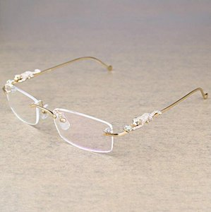 Gafas Transparentes de leopardo Jahrgang sin montura, montura transparente de anteojos, gafas de lujo, Accesorios para hombres, GAFAS Oculos