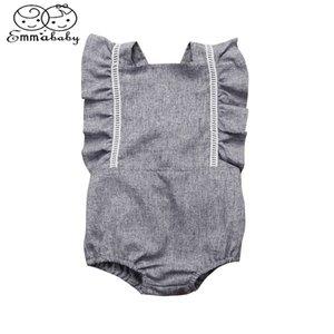 Emmababy Summer Hot Seling Новорожденные Kid Девочки Backless Ruffled Ромпер Комбинезон легкий костюм с шортами Комплекты одежды T200721 женский пляжный костюм