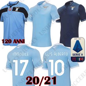 20 21 maillot de football Lazio 120E 2020 2021 Lazio 120 ANNI Maillot de foot LUIS ALBERTO IMMOBILES SERGEJ hommes enfants kits maglia da calcio MAILLOT