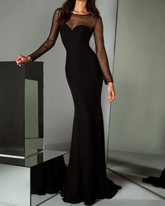 Mermaid   Trumpet Elegant Black Party Wear Formal Evening Dress Illusion Neck Long Sleeve Sweep   Brush Train Tulle with Sequin