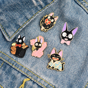 Gioielli spilla risvolto pin per Amici Regali Black Cat JiJi dello smalto Pins 7styles Cat Cartoon Movie Kiki Spille animali