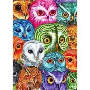 Owl Face Full Drill 5D Diamond Round Rhinestone Embroidery Painting DIY Cross Stitch Kit Mosaic Draw Home Decor Art Craft Gift