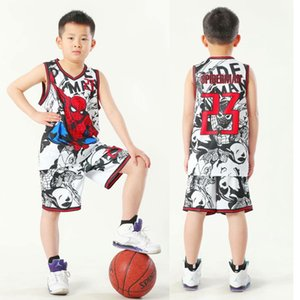 Vêtements pour enfants Performance Jersey Hommes Spider-Man No. 23 Basketball Suit Hip Hop Hip-hop Fashion Costume enfants Catwalk Danse Costume