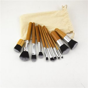 High Quality Makeup Bamboo Handle Brush Set Carbonized Natural Cosmetic Handles Brushes Wooden Color With Sack Bag Free Shipping 12 5xy B2