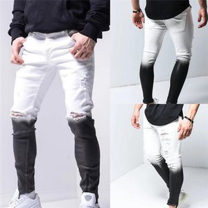 Mens Gradient Color Ripped Jeans Casual Skinny Hole Pencil Pants Male Hip Hop Style Jeans