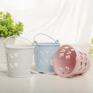 1pc Hollow Heart Iron Bucket Wedding Decorations Birthday Party Supplies Candy Box Favors Package for Guests Mini Flower Baskets