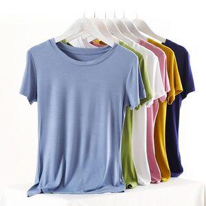Basic Modal 95% Cotton Summer T Shirt Women Knitted Short Sleeves Tee Shirt High Elasticity Breathable O Neck Female Top Tshirt