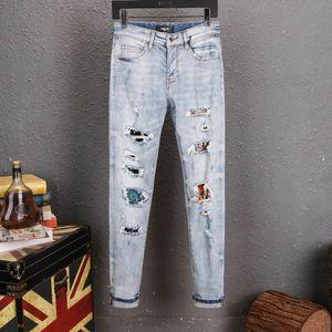 mens designer jeans black ripped biker skinny motorcycle pants pour hommes men s hip hop New Style mens joggers