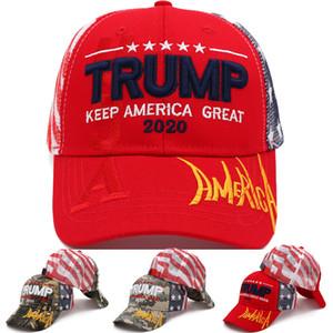 4 de style casquette de baseball atout Donald Trump 2020 brodé KEEP AMERICA GRAND Camouflage Caps chapeau Camo Parti Trucker DHF46 gros