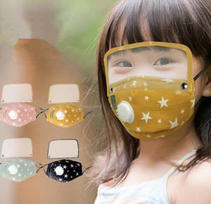 Belle conception pour enfants Cartoon Designer Face Mask Avec Eye Shield transparent Filtres lavables réutilisables en tissu extérieur Masque bouche