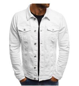 Diseñador de moda para hombre del dril de algodón de la chaqueta de los hombres delgados de la chaqueta del dril de algodón sólido masculino Jean chaquetas de los hombres Outwear vaquero Ropa de Hip Hop de Calle