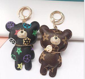 Hot keychain Key Chain Accessories Fashion New Designer Cute Tassel Key Ring PU Leather Bear Pattern Car Keychain Jewelry Bag Charm