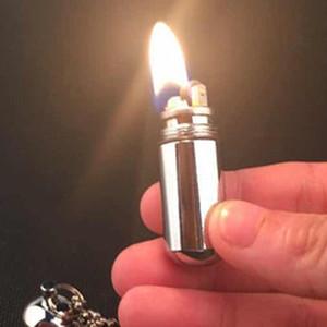 New Portable Kerosene Lighter Key Chain Capsule Gasoline Flint Lighter Inflated Keychain Oil Lighter Grinding Wheel Petrol
