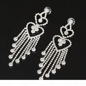 R pendientes de gota de alta calidad de la borla larga cristalina de la boda de compromiso Pendientes Para accesorios Mujeres regalo de la joyería # E074