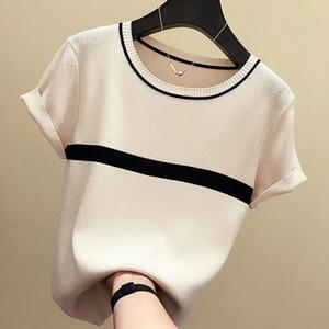 shintimes fino de punto mujeres de la camiseta 2020 Ropa Mujer del verano de manga corta tes de las tapas camiseta a rayas Casual Mujer Camiseta Femme MX200721