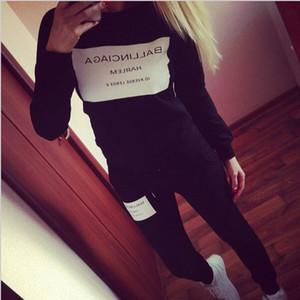 2019 heiße Verkaufs-neue Frauen Anzug beiläufige Hoodies Trainingsanzug Set O-Ansatz Sexy Sweatshirt Hose-Klagen Grau Schwarz Outfits Kostüme Plus Size