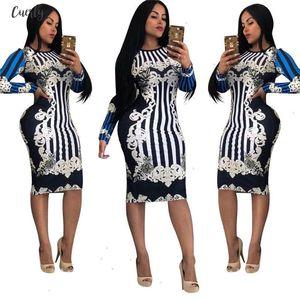 Novelty Print Bandage Bodycon Dress Women O Neck Long Sleeve Knee Length Casual Dress Slim Midi Party Dresses Designer Clothes